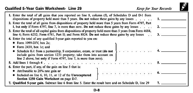 Schedule D Qualified 5 Year Gain Worksheet Line 29 – Schedule a Worksheet