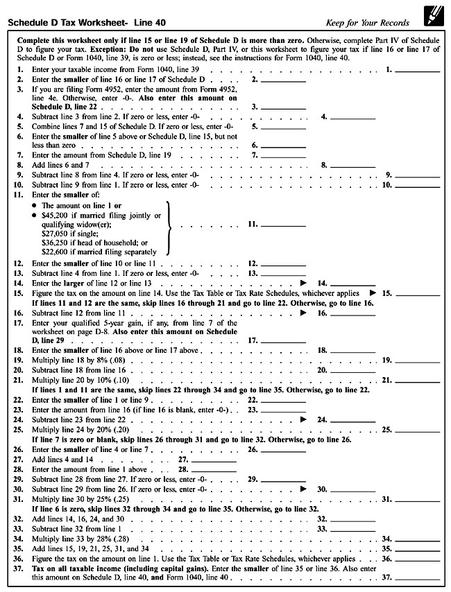 Worksheet Schedule D Tax Worksheet 2014 schedule d tax worksheet irs for 1040 together with