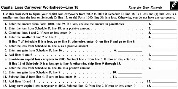 Worksheet Capital Loss Carryover Worksheet schedule d capital loss carryover worksheet line 18