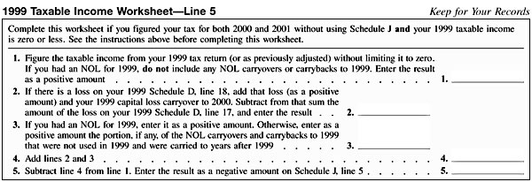 Schedule J 1999 Taxable Income Worksheet Line 5 – Schedule a Worksheet