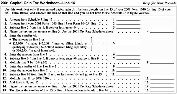 Schedule J 2001 Capital Gain Tax Worksheet Line 16 – Qualified Dividends Worksheet